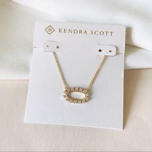 KendraScott Elisa open frame crystal gold necklace